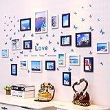 Yxsd Sala de Estar Foto de la Pared Marcos de Fotos Europeos Combinación de Fotos de la Pared Decoración mediterránea 18 Piezas (Color : A)