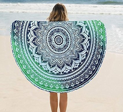 raajsee Tapestry Mandala, Hippie Bohemian Bedding Home Decor Psychedelic Indian Ethnic Traditional Bedspread Table Cloth Mandala, (Green, Round 70 INCHES)