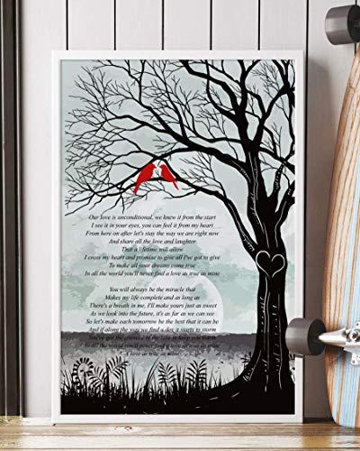 PAPRADA Decor Gift - I Cross My Heart Song Lyrics Tree and Birds Portrait Poster Print (24' x 36')