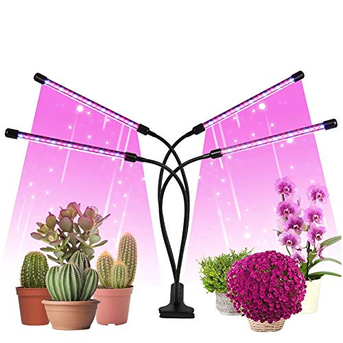 LED Plant Light, 80 LEDs/ 80W LED Grow Light, 380-800 Nm Full Spectrum Growing Lamps with 4 Goosenecks Heads & Timer & 3 Light Modes & 10 Dimmable Modes & Remote Contro (USB)
