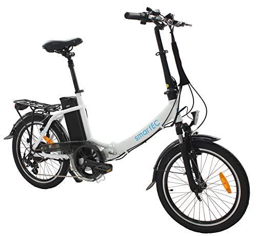 smartEC Camp-20D Klapprad E-Bike, 20 Zoll, Anfahrhilfe, 7 Gänge, Fahrunterstützung 25 km/h, Reichweite 100 km, Samsung Li-Ion-Akku 36V/250 Watt, Nabenmotor (Weiß)