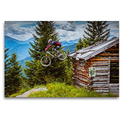 Premium Textil-Leinwand 120 x 80 cm Quer-Format Downhill Action | Wandbild, HD-Bild auf Keilrahmen, Fertigbild auf hochwertigem Vlies, Leinwanddruck von Dirk Meutzner