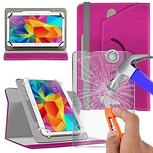 N4U Online® Verschiedene Farbige Glas & Rotierend PU Leder für Irulu Expro X1S Tablet - Rosa