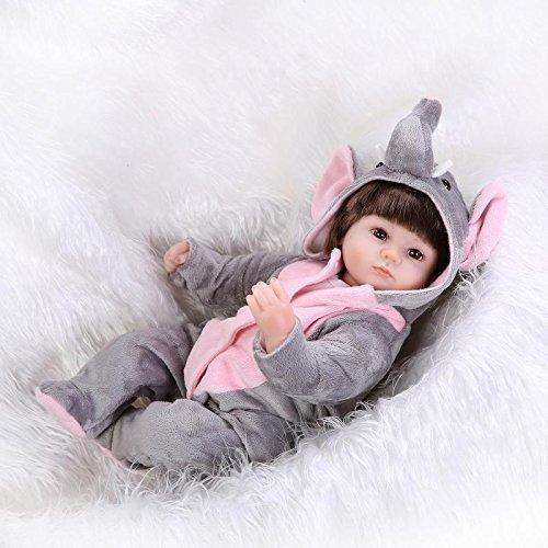 iCradle Reborn Baby Puppe Weich Silikon Vinyl 43cm /17zoll Magnetisch Mund Naturgetreue Jungen Mädchen Spielzeug Dolls Toys with Elefanten Kleidung