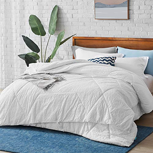Hansleep Bedding Single Duvet 2 in 1 (4.5 Tog + 10.5 Tog) Combination 15 Tog for All Season - Hypoallergenic Microfibre Coverless Bed Quilt Duvets with Corner Tabs - White 135x200 cm