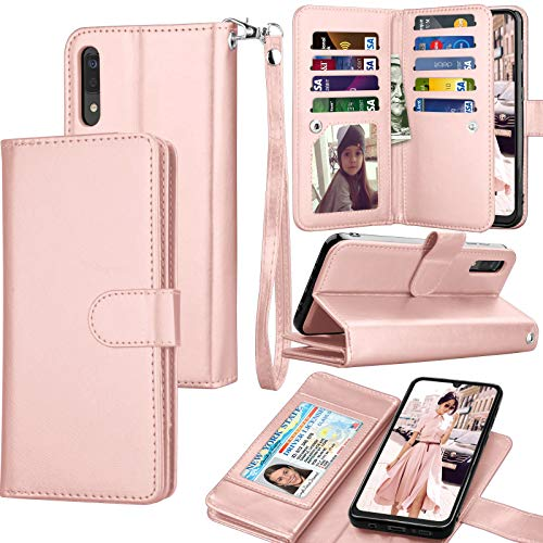 Galaxy A50 Case, Galaxy A50 Wallet Case, Luxury Cash Credit Card Slots Holder Carrying Folio Flip PU Leather Cover [Detachable Magnetic Hard Case] & Kickstand Compatible Samsung Galaxy A50 [Rose Gold]
