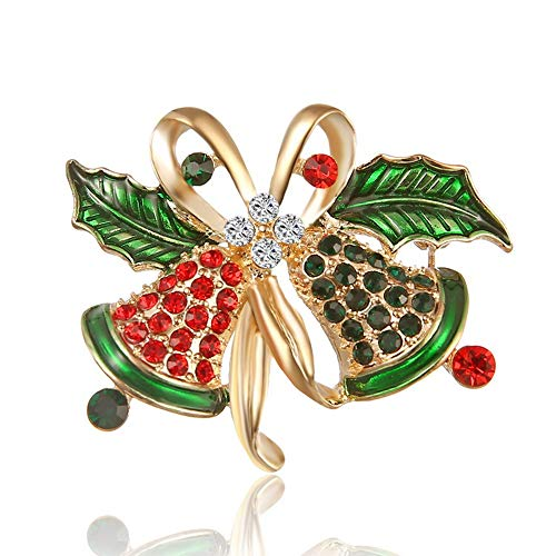 Christmas Brooch Pins, WSTJY Gold Plated Xmas Art Crafts Pattern Crystal Rhinestones Brooch Pin Jewelry Gifts for Women Girls