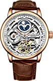 Stührling Original Rose Gold Watch for Men Skeleton Watch Dial Automatic Watch Movement - Dual Time, AM/PM Sun Moon, Genuine Leather Band, 3917 Watch Mens Collection