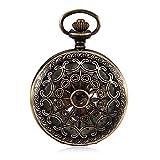 D-HB Reloj De Bolsillo para Hombres Reloj De Bolsillo Mecánico De Bronce Vintage Reloj De Bolsillo con Números Romanos Rojos Gráfico De Pared