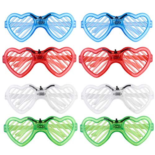 POPETPOP LED メガネ 光る パーティーメガネ 8枚セット LEDメガネ おもしろ メガネ 新年 忘年会 パーティ イベント 誕生日 アクセサリー パーティー用 眼鏡小道具