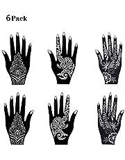 6 stuks Mehandi sjablonen Henna Ontwerpen Stickers voor Glitter Tattoo en Air Brush Tattoo, voor eenmalig gebruik voor handen