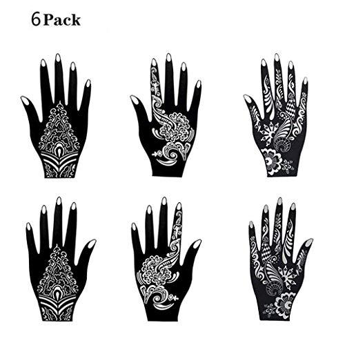 6 Stück Mehandi Schablonen Henna Designs Aufkleber für Glitter Tattoo und Air Brush Tattoo Geeignet,Zur Einmaligen Verwendung für Hände