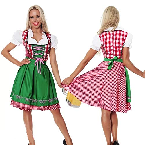 thematys Dirndl Oktoberfest Trachtenkleid - Kostüm-Set für Damen - perfekt für Fasching, Karneval & Oktoberfest - 4 Verschiedene Größen (XL, Style 1)