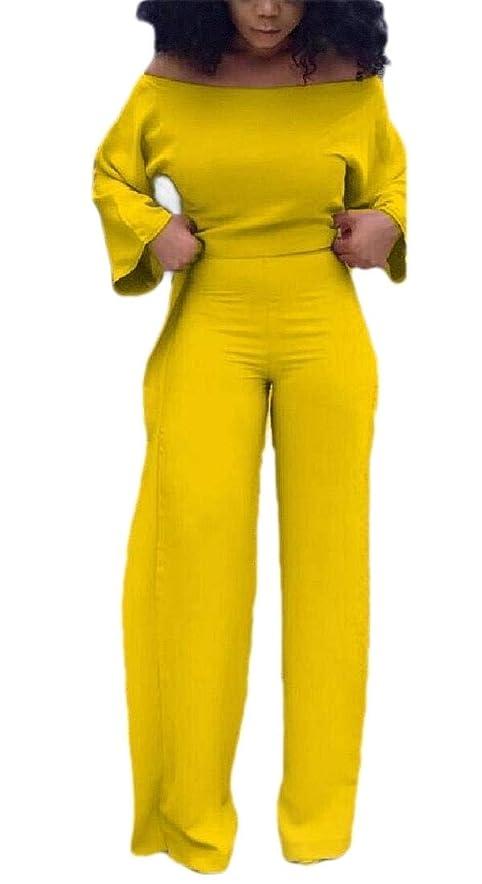 大騒ぎ地震雇用者Women Casual Solid Long Sleeve Top Wide Leg Pants Set Tracksuits 2 Piece Outfits