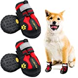 Dog Shoes LLNstore Dog Boots Rain Boots for Medium Large Dogs with Adjustable Reflective Straps Anti-Slip Sole Windproof (6, Red)