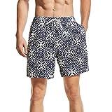 Short de Bains Slim Fit Garçons Pantalons de Sport d´Été Maillot de Bain Homme pour Vacances sur La Plage,Navy Circle ,L