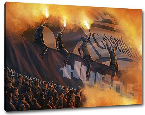 Ultras Hugos Gelsenkirchen, Bild auf Leinwand XL, fertig gerahmt, 80 x 60 cm