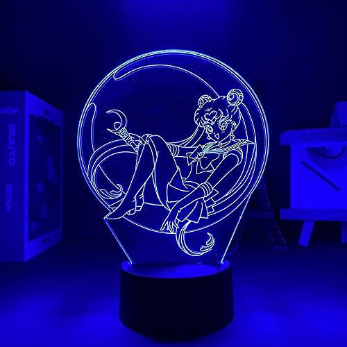 3D LED noche luz talbe ilusión lámpara Sailor Moon USB decoración interior ideal para un cuarto de cumpleaños