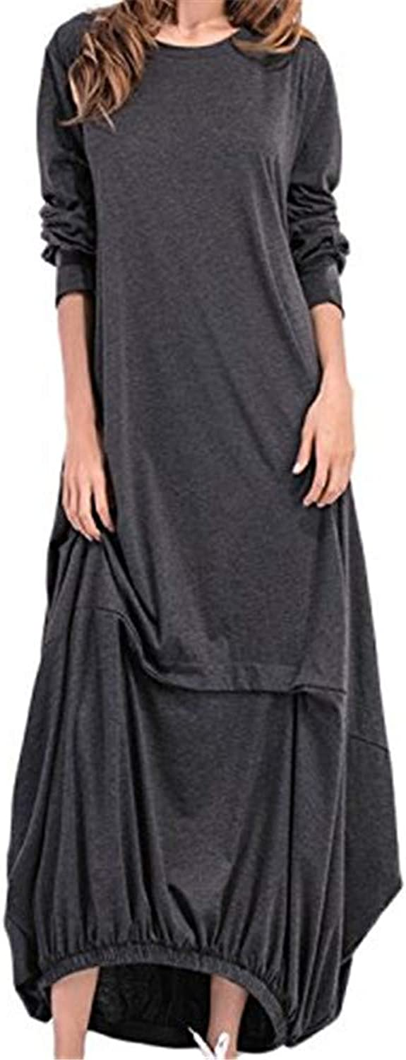 Xinantime Summer Women's Loose Casual Home Service ONeck Pocket Wrinkled Hem Long Skirt Holiday Party Dress