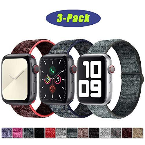 SSEIHI Kompatibel mit Apple Watch Armband 42mm 44mm,Soft Sport Loop Leichter Atmungsaktiver Nylon Armband Für die iWatch Serie 5/4/3/2/1, Sport+, Edition,RedBlack/Fog/Gray