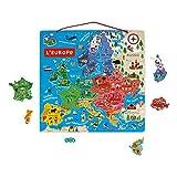 Puzzle Magnético de Madera con Mapa de Europa - 40 Piezas Magnéticas - 45x 45 cm - Versión Francesa - Juego educativo a partir de 7 años