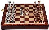 Juego de Caja de Regalo de Alta Gama de ajedrez Piezas de ajedrez de Bronce de Metal de Estilo Retro Tablero de ajedrez Plegable Extra Grande para niños y Adultos (Color: Oro y Plata) Uptodate