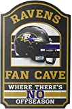 """Wincraft NFL Baltimore Ravens Fan Cave Wood Sign, 11"""" x 17"""""""