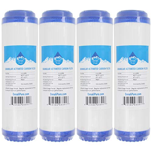 4-Pack Replacement for Compatible with WaterPur CCI-10-CLW Granular Activated Carbon Filter - Universal 10-inch Cartridge Compatible with WaterPur Clear Water Filter Housing - Denali Pure Brand