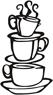 CREATIEE-PRO Coffee Tea Cup Art Wall Decal Sticker, Removable DIY Vinyl Mug Decal Wallpaper for Kitchen Home School Office Shop Cafe Bar Pub Restaurant Hotel Wall Decor
