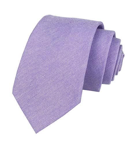 Secdtie Men's Skinny Tie Causal Cotton Solid Color Linen Narrow Slim cut Necktie (One Size, Lavender)