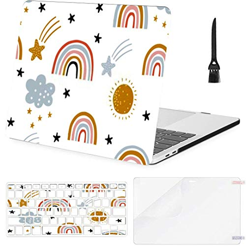 MacBook Pro Case Cute Kids Nursery Rainbow Seamless Pattern MacBook Pro 15'(with CD-ROM) /A1286 Plastic Case Keyboard Cover & Screen Protector & Keyboard Cleaning Brush