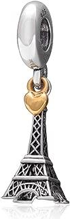CM Paris Torre Eiffel encanto con corazón dorado plata de ley 925amor colgante para Europea Pulsera Valentines Regalos