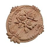 Dekorative Formteile Blume, die natürliche Holzapplikationen für Möbelschrank schnitzen, unlackierte hölzerne Formteile Aufkleber dekorative Figur Onlays und Applikationen. (Color : 13X9cm)