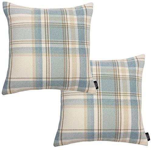 McAlister Textiles Heritage Housses de Coussin et Taies d'Oreiller - Bleu Lagon - Lot de 2-40cm x 40cm