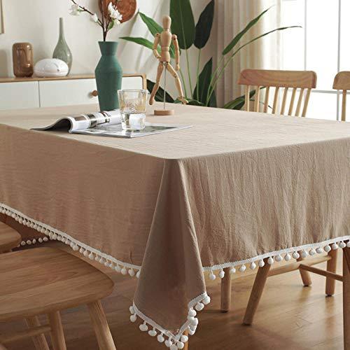 Dthlay tafelkleden rechthoekig groot eenvoudig wit wol bal tafelkleed TV-kast tafelkleed Cover handdoek bruin