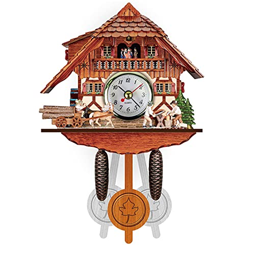 ZHJIUXING ST Reloj De Pared De Cuco Colgante Antiguo, Reloj De Pared De Péndulo De Madera para Casita De Pájaros De Cuco por Hora para Decoración De Habitación, J