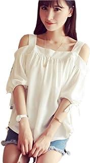 GuDeKe オフショルダー 夏 春 かわいい カットソー トップス リボン 白Tシャツレディース フリーサイズ