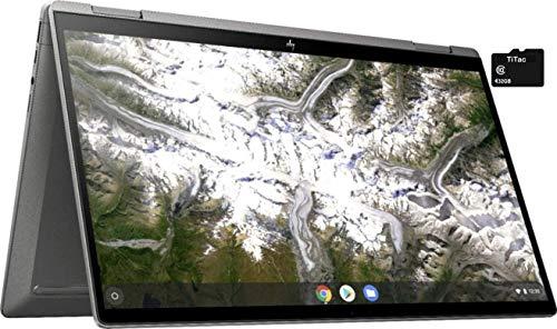 2021 HP X360 2 in 1 Laptop 14' Touch-Screen FHD IPS Chromebook, Intel Core i3-10110U (Beats i5-7200U), 8GB RAM, 64GB eMMC, Backlit Keyboard, Fingerprint Reader, Webcam, Mineral Silver + TiTac Card