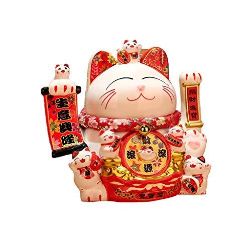 ZZL Elegante estatua de cerámica, diseño de gato de la suerte, decoración de escritorio de oficina, decoración de mesa de escritorio, regalo de decoración eléctrica Beckon (color: multicolor2)