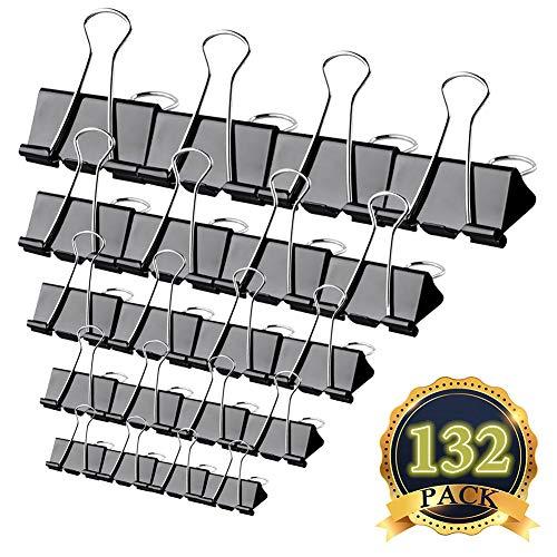 Pinces Double Clip - MAIKEHIGH Lot de 132 Foldback Pinces Papier Métal Binder Clips pour notes Papier à lettre Clip Fournitures de bureau, 5 tailles assorties, noir