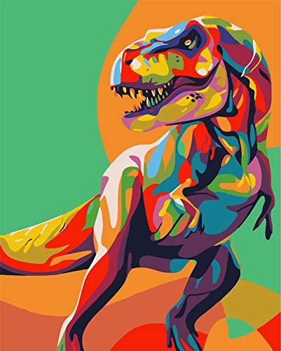 WISKALON DIY Pintura al óleo Dinosaurio Colorido, Pintar por Numeros para Adultos y Principiantes Pintura por números con Pinceles y Pinturas Sin Marco 16 * 20 Pulgadas