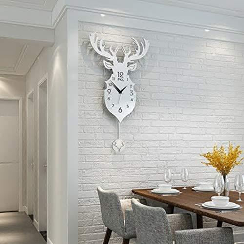 Personnage à la mode Personnalisé Horloge Horloge Murale Salon Originalité Europe Type Est Contemporain Contracté Tête De Cerf Secouant Horloge Quartz