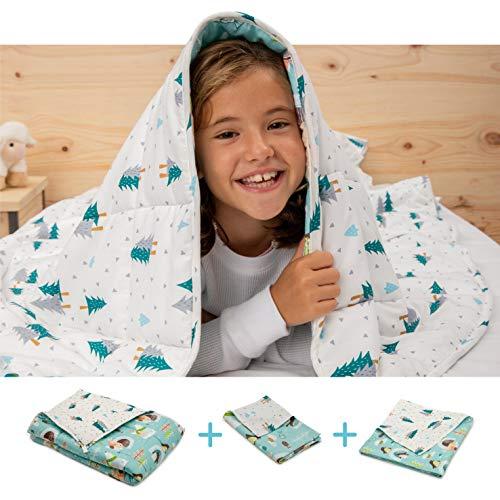 BANBALOO- Manta Pesada Reversible para niños y Adolescentes. Kit Manta ponderada Adaptable al Cuerpo + Funda de Almohada + Cubierta Lavable.Edredón de Gravedad sensorial para Mejorar el sueño.