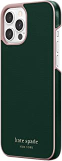 kate spade new york Wrap Case Compatible with iPhone 12 Pro Max - Deep Evergreen/Rococo Pink PC/Gold Sticker Logo