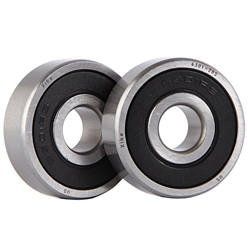 XiKe 2 Pack 6301-2RS Bearings 12x37x12mm, Stable Performance and Cost-Effective, Double Seal and Pre-Lubricated, Deep Groove Ball Bearings.