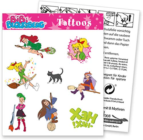 DH-Konzept Set de tatuajes de 8 piezas, diseño de Bibi Blocksberg con imagen para regalo o regalo