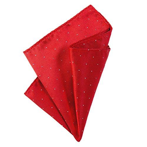 DonDon fazzoletto da taschino con puntini argento 25 x 25 cm per uomo adatto ad occasioni cerimoniali - Rosso