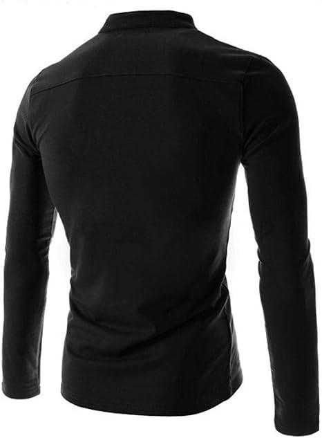 Camisetas casuales de manga larga para hombre con cuello abuelo camisetas Henley camisa slim fit botón tapeta capa base Tops