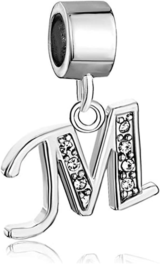 Third Time Charm Dangle A-Z Letter Initial Charm Clear Alphabet Beads for Charm Bracelets