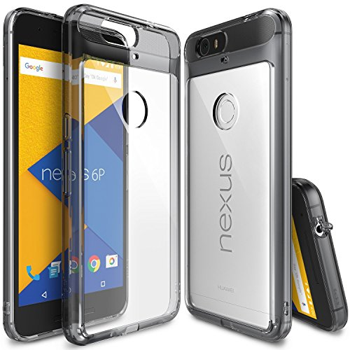 【Ringke】Nexus 6P ケース 対応 コスパ最高 クリア 透明 落下防止 ストラップホール スマホケース [米軍MIL規格取得] TPU PC 二重構造 吸収耐衝撃カバー Fusion (Smoke Black/黒煙) Google Nexus 6P ケース